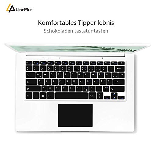 LincPlus P3 Laptop Full HD 14 Zoll Ultrabook, Intel Celeron N3350 4GB RAM 64GB eMMC aufrüstbar mit bis zu 512GB SSD Windows 10 S,lüfterlos kompakter Aluminium Notebook mit QWERTZ Tastaturlayout.