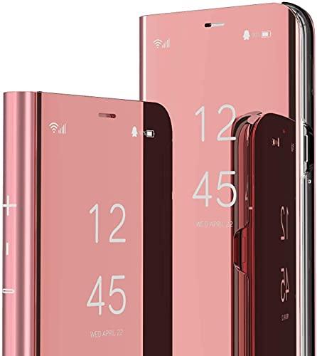 Capa flip compatível com Samsung Galaxy A50, capa fina translúcida espelhada, capa de proteção total de couro PU híbrida PC à prova de choque para Samsung Galaxy A50 (ouro rosa)
