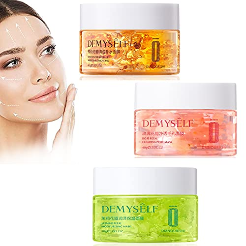 HZXY Moisturizing Gel Face Mask, Jasmine/Osmanthus/Rose Petal Face Wrinkle Cream, Skincare Gel Mask, Beauty Firming Cream for Tightening Face Anti Aging