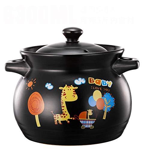 1yess Cazuela de Sopa de Dibujos Animados Olla de cerámica Olla de Barro de Alta Temperatura de Gran Capacidad Pintura macetas for Comida de Sopa de arroz 3,8 l de harina de Avena nutrición Infantil