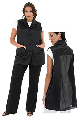 A Size Above Plus Size Vented Mesh Back Salon Stylist Vest, Cut for Curves, Stretch Mesh Back, Lower Pockets with Zippered Bottoms, Lightweight, Water Resistant Nylon/Poly, Black, 3X