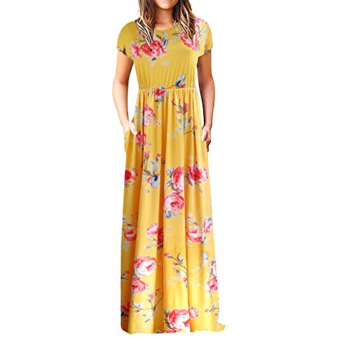 CUTEKOLVE Long Maxi Dresses for Women Short Sleeve Loose Plain Casual Dresses with Pockets (M, Yellow)