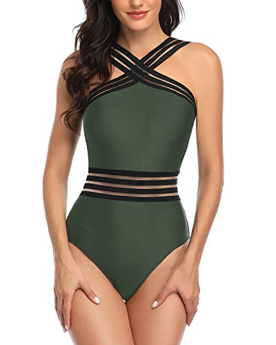 Tempt Me Women Crisscross One Piece Swimsuit Tummy Control Bathing Suit Front Crossover Swimwear Oliver Green M