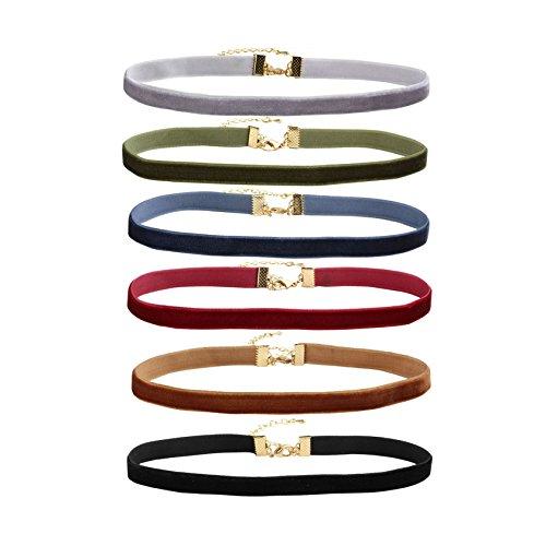 MILAKOO 6 Pcs Velvet Choker Necklaces for Women Tattoo Collar Lace Choker Adjustable