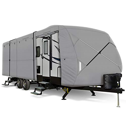 "Leader Accessories Windproof Upgrade Travel Trailer RV Cover Fits 27'-30' Trailer Camper 3 Layer Size 366"" L102 W104 H with Adhesive Repair Patch"
