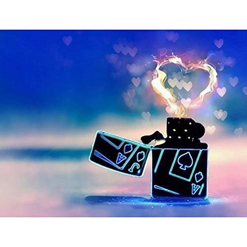 Liefhebber cadeau diamant schilderij hart aansteker volledige ronde boor 5D DIY foto van strass mozaïek diamant borduurwerk