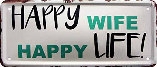 Happy Wife Happy Life ! Rahmenlos 1336 Plaque métallique décorative 28 x 12 cm