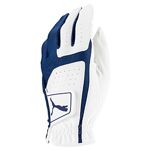 Puma Golf 2018 Men's Flexlite Golf Glove (Bright White-Monaco Blue, Med/Large, Left Hand)