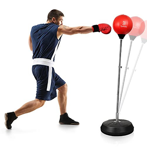 Punching Bag with Stand Freestanding Boxing Bag, Dprodo Adjustable Speed Reflex Training Bag for Adults Kids Plus Boxing Gloves, Workout Punch Set for Home Gym