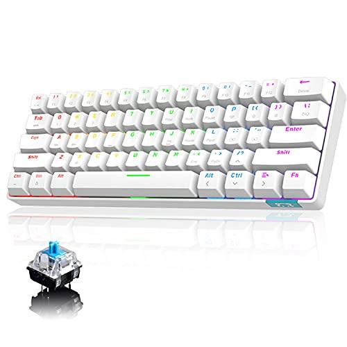 Tastiera meccanica al 60% cablata /Tastiera Bluetooth senza fili 61 tasti RGB arcobaleno con retroilluminazione a LED Tastiera da gioco impermeabile USB Type-C Tasti anti-ghosting (interruttore blu)