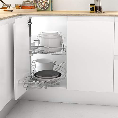 Casaenorden - Kit de 2 bandejas giratorias 180º de Rejilla para Mueble de Cocina rinconero - Mueble esquinero de Cocina - Ancho Puerta 450mm / Alto Producto 630-730mm