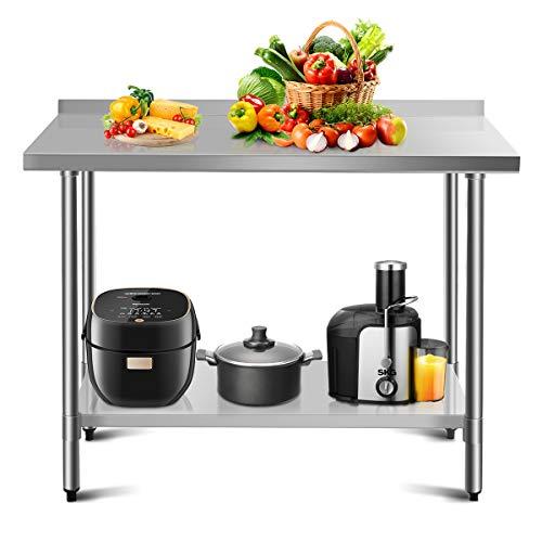 COSTWAY Arbeitstisch Edelstahl Küchentisch Gastro Edelstahltisch belastbar bis 250kg, Zubereitungstisch mit Zwischenbord (122 x 61 x 90 cm / 48x24)