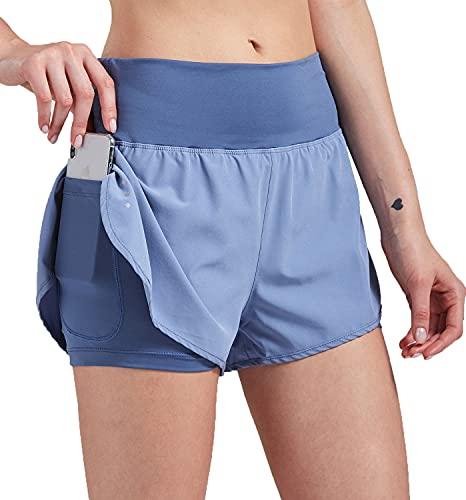 VIGVAN Pantalones cortos de deporte 2 en 1 para mujer, de verano, de secado rápido, para fitness, yoga, gimnasio, jogging, entrenamiento, pantalones de deporte para mujer con bolsillos azul L
