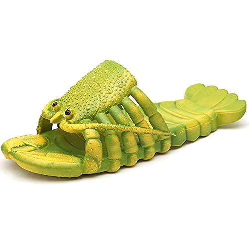 XIKADAN Pantofole estive divertenti a forma di aragosta per bambini, scarpe da spiaggia, morbide e creative da doccia, da uomo, casual, impermeabili, verde, uk8