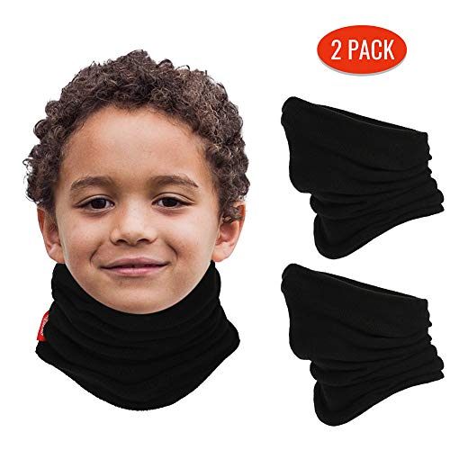 Aegend Neck Warmer for Kids 2 Pack, Double-Layer Fleece Ski Neck Gaiter for Boys Girls Youth Winter Cold Weather (Age 4-12), Black