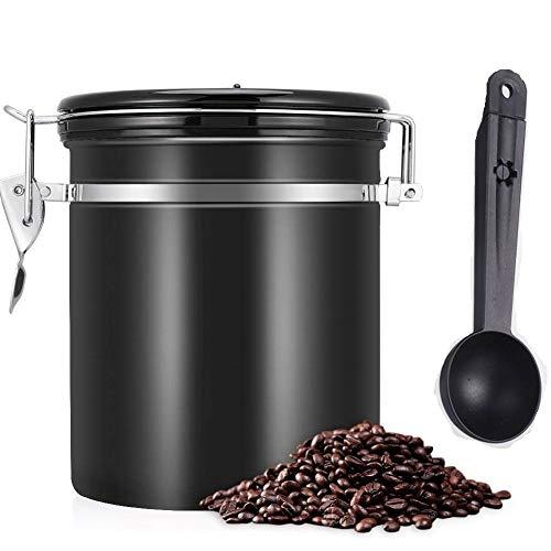 Barattolo per Caffè 1.2L Contenitore in Acciaio Inox, Queta barattolo ermetico caffè von valvola di scarico, Mantiene Il caffè aromatico più a lungo, cucchiaino incluso