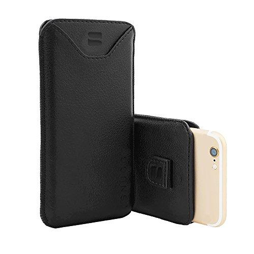英国Snugg iPhone 7用 PUレザー ポーチ型 スリープケース 生涯補償付き(ブラック)