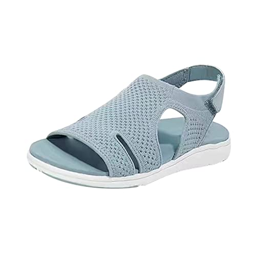 Open Toe Flat Sandals Dressy Summer Lightweight Soft Sole Vent Sandal Non-Slip Indoor Outdoor Simple Beautiful Breathable Summer Heeled Sandals Dressy Fire and Safety Shoes(Green 8)