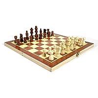 MQJ チェスセットポータブル磁気折りたたみチェス盤折り畳み式木製国際チェスセット屋内屋外旅行ソリッドウッドチェスゲームセットパーティーファミリー活動ゲーム,16インチ