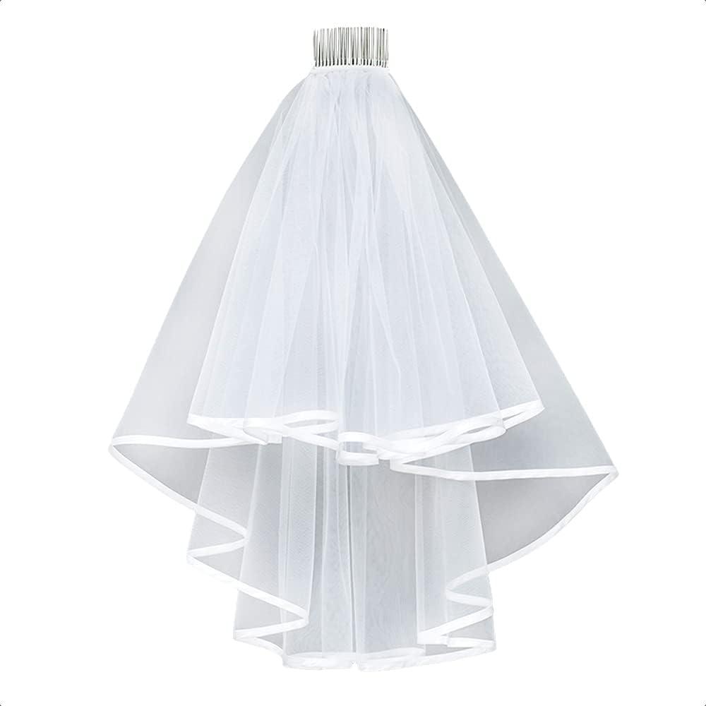 ULAPAN Wedding Veil, Elegant2 Tier Bridal Veil with Comb for Wedding/Bachelorette Party