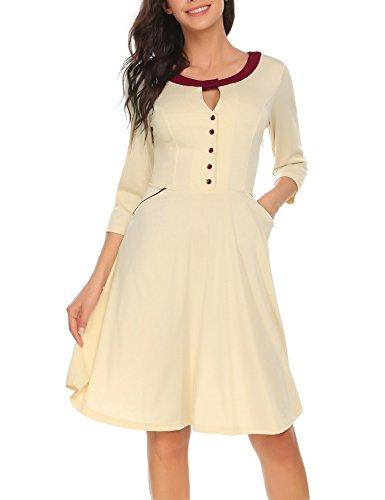 ACEVOG Damen Kleid mit 3/4-Ärmeln A-Linie Casual Midi Flare mit Tasche - Beige - X-Groß
