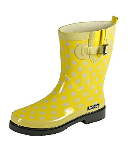 MADSea Damen Gummistiefel Ocean gelb Punkte Halbschaft Regenstiefel, Größe:36 EU