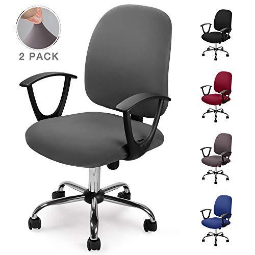 Bezug für Bürostuhl Bürostuhl-Bezug Waschbarer elastischer Sitzbezug Computer-Bürostuhl Bezug Universal Stuhl Bezüge Drehstuhl Bezüge Set für Bürostuhl Computer Stuhl Armlehnen Stuhl (Grau, 2)