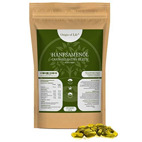 Hanföl 250 Softgel-Kapseln - Hochdosiert mit 2000 mg Tagesportion - kaltgepresst & naturbelassen - pflanzliche Omega 3 6-9 / Premium Cannabis Sativa - Großpackung XL - Made in Germany