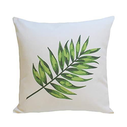 Torey 1 funda de cojín transpirable con estampado de hojas tropicales, para sofá, cuadrada, de alta calidad, decorativa, supersuave, con cremallera oculta.