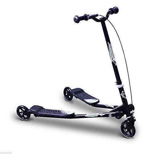 HOMCOM Patinete Scooter de 3 Ruedas Plegable Scooter de Oscilación Reductor para Niños +4 Años con Freno Manillar Ajustable Carga 50kg Marco Acero Negro