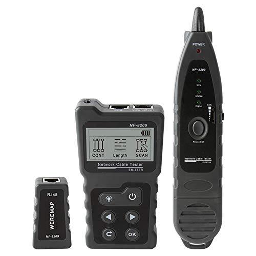 Probador de cables de red NF-8209 para rastreador de cables, herramienta de escaneo de cable CAT5 CAT6, medición de la longitud del cable, prueba PoE, función NCV