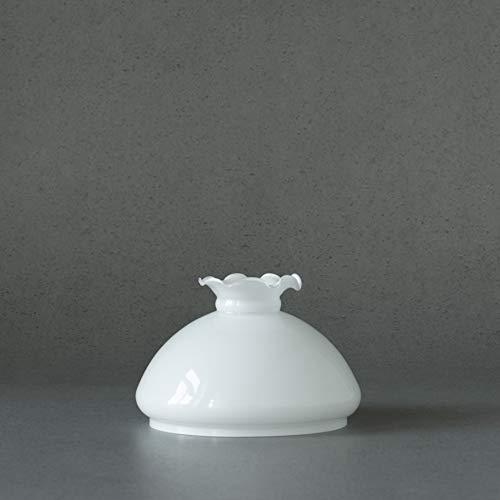 Vestaglas Lampenschirm für Petroleumlampe mit Wellenrand opal weiss, Durchmesser 23,3 cm