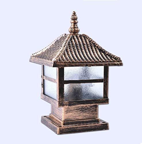 YQGOO Lámpara Columna al Aire Libre Cuadrada pequeña Europea Lámpara Vidrio césped jardín Tradicional Poste Luces Lámpara Pilar Impermeable Iluminación Mesa Patio Aluminio E27