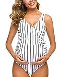 Tempotrek Maternity Swimsuit One Piece Elegant V Neck Pregnancy Swimwear Tie Front Bowknot Bathing Suit Monokini