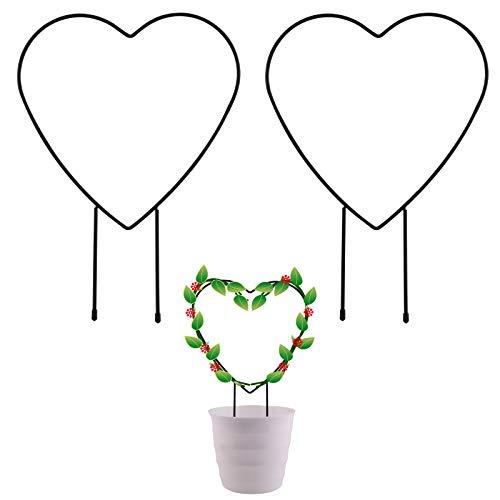 SAVITA 2 Pezzi Traliccio da Giardino in Metallo, per Rampicanti, Pali Decorativi per Piante in Vaso da 31 Cm, con Rivestimento Nero, Supporto per Piante Rampicanti in Ferro (a Forma di Cuore)