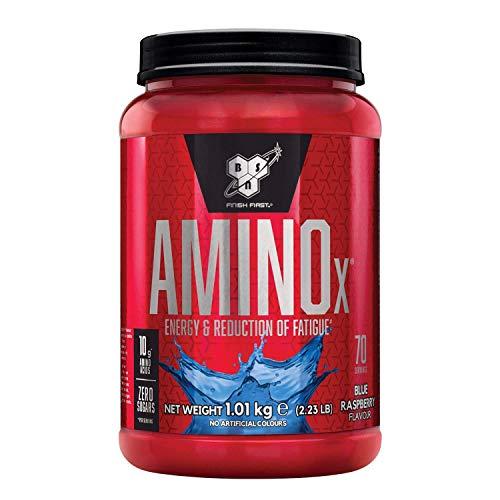 BSN Nutrition Amino X, Suplementos Deportivos BCAA Polvo con Aminoacidos Esenciales y Vitamina D, Aminoacidos BCAA para Musculacion, Frambuesa Azul, 70 Porciones, 1kg