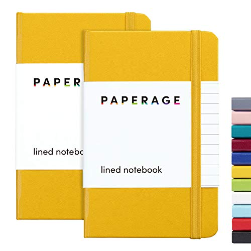 """2-Pack Pocket Notebook Journal Notepad Small, College Ruled, 3.7"""" x 5.6"""", Hard Cover Mini Journal, 100 GSM Thick Paper, Inner Pocket (Yellow, Lined)"""