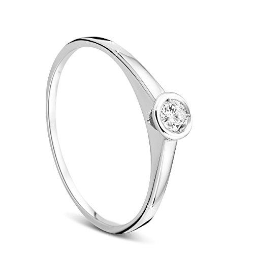 Orovi Damen Verlobungsring Gold Solitärring Diamantring 9 Karat (375) Brillanten 0.10crt Weißgold Ring mit Diamanten Ring Handgemacht in Italien
