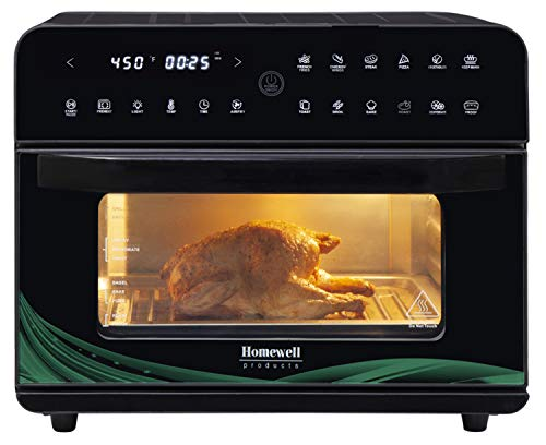 Homewell XL Large Air Fryer Oven 26QT Capacity 1800W Electric Hot Oven Oil-less Cooker with LED Touch Digital Screen, 12 Cooking Functions, Recipe book, Nonstick Basket, Baking Pan, Oven Rack