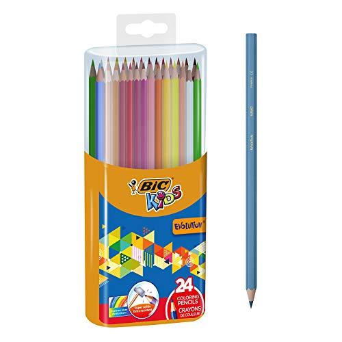 BIC Kids Evolution - Caja de lápices de colores con sacapuntas (24 unidades)