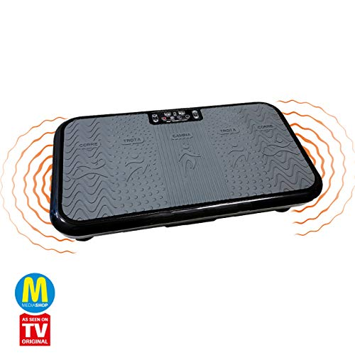 Mediashop VibroShaper, Vibrationsplatte, Ganzkörper Training | 3 Stufen, 99 Geschwindigkeiten, Fernbedienung, Trainingsbänder, Ernährungsplan, Übungsplan | Das Original aus dem TV (schwarz)