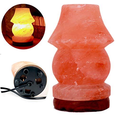 Lampe en sel Cristal de Sel de l'Himalaya Naturel de 2,5 kg Avec Base en Bois/Cordon d'alimentation/Entièrement Naturelle (Forme Lampe de table)