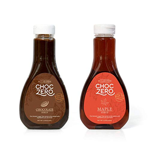 ChocZeros Chocolate and Maple Syrup. Sugar Free, Low Net Carb, No Preservatives. Gluten Free. No Sugar Alcohols. Dessert and breakfast toppings for keto. (2 bottles)
