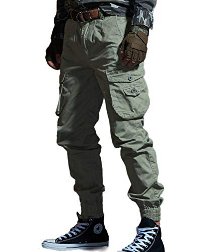 Men's Cargo Joggers Work Camo Chino Utility Combat Pants Trousers with Multi Pockets 32