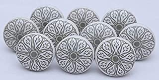 Coysnee Set Off 12 White & Grey Knobs Hand Painted Ceramic Knobs Cabinet Drawer Pull