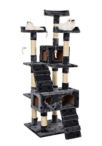 Lethzer Kratzbaum Katzenbaum Katzenkratzbaum mit Höhle Kletterleiter Liegeplattform Spielelemente 175cm hoch in Farbe Braun mit Pfotenabdruck