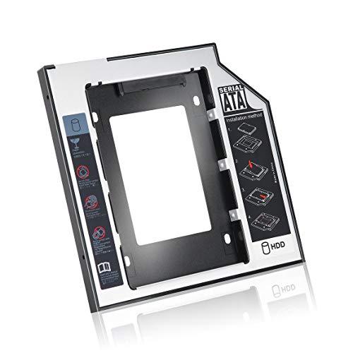 Funnyrunstore 9.5 mm Universal de Aluminio SATA Second HDD SSD Caddy con 4 Tornillos para Adaptador de bahía óptica de CD/DVD-ROM (Negro)