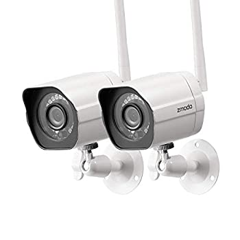 Zmodo 1080p Full HD Outdoor Wireless Security Camera System 2 Pack Smart Home Indoor Outdoor WiFi IP Cameras with Night Vision Compatible with Alexa
