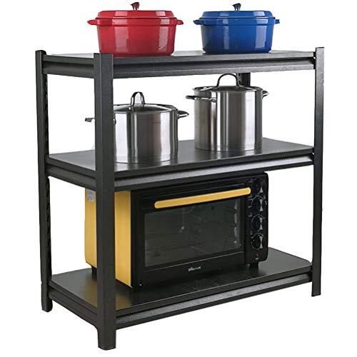 WYQ Mensole Nero Scaffale, 3 Tier Metal Shelf, Abbastanza Robusto, risparmiatore dello Spazio, Forno a microonde Rack Rack di stoccaggio Scaffale, Standing Storage Unit