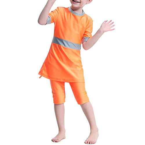 BESTOYARD Moslim Arab Meisjes Badpak Korte mouwen Top en Korte Pak Conservatieve Split Badmode H2004 voor Meisjes en Tiener-100cm(Orange)